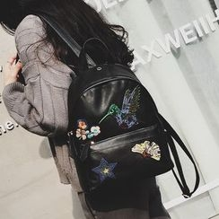 Albatross - Embroidered Faux Leather Backpack