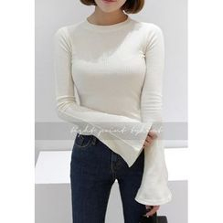 Miamasvin - Bell-Sleeve Ribbed Slim-Fit T-Shirt