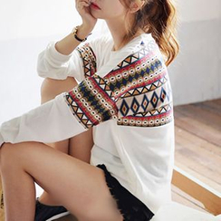 Champi - Patterned Panel Long-Sleeve T-shirt