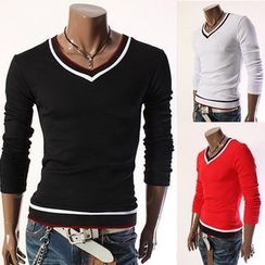 Bay Go Mall - V-neck Long-Sleeve T-shirt