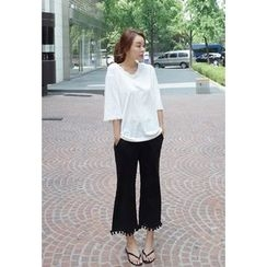 BBORAM - Tassel-Trim Boot-Cut Pants