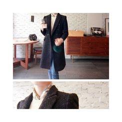 LEELIN - Double-Breasted Tweed Coat