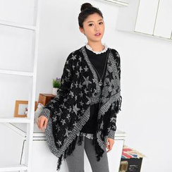 59 Seconds - Star Print Fringed Chunky Cardigan