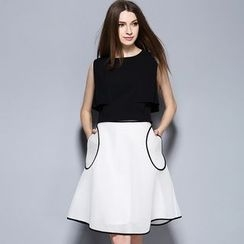 Cherry Dress - Set: Panel Sleeveless Top + Piped Ruffle Skirt