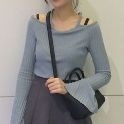 MATO - Cut Out Shoulder Long Sleeve Knit Top