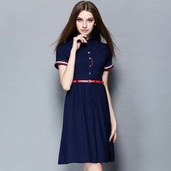 Cherry Dress - Short-Sleeve Collared Dress