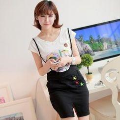 Chuvivi - Set: Short-Sleeve Horse Print T-Shirt + Jumper Skirt