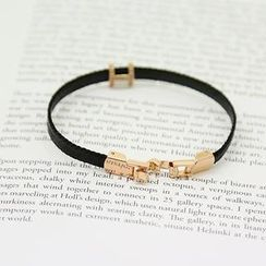 NANING9 - Faux Leather Logo Bracelet