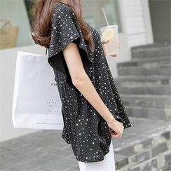 PIPPIN - Star-Print Frilled-Sleeve T-Shirt