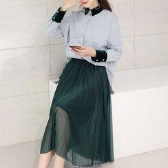 SEYLOS - 套装: 长袖条纹衬衣 + 饰褶中长裙