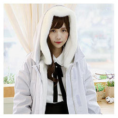 Sechuna - Drawstring-Waist Hooded Fleece-Lined Coat