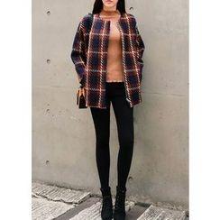 J-ANN - Zip-Up Checked Tweed Jacket