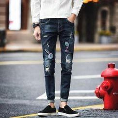 Besto - Patched Distressed Skinny Jeans