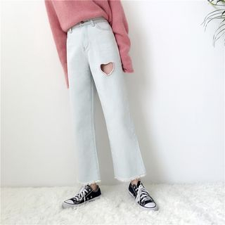 Cattie - Heart Cutout Washed Jeans