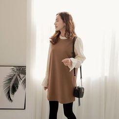 Seoul Fashion - Inset Frilled Top Sleeveless Mini Shift Dress