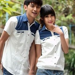 NoonSun - Couple Matching Denim Applique Short Sleeve Shirt