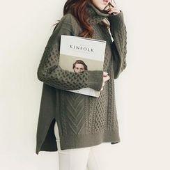 NANING9 - Wool Blend Turtleneck Oversized Sweater