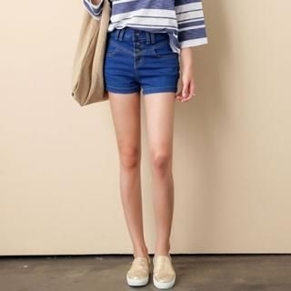 ANNINA - High-Waist Buttoned Denim Shorts