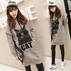 Au Naturel - Cat Print Hooded Pullover Dress