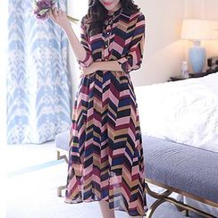 Romantica - Long-Sleeve Printed Midi Dress
