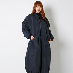 FASHION DIVA - Drawstring-Waist Padded Maxi Flight Jacket