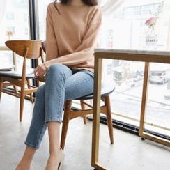 Hello sweety - Boat-Neck Wool Blend Knit Top