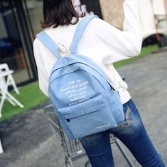Seok - Lettering Embroidered Denim Backpack