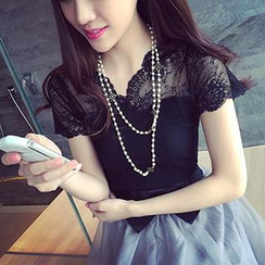 Bubbleknot - Set: Lace Yoke Knit Top + Bow Accent Tulle Skirt