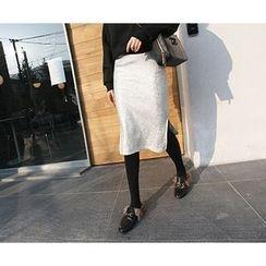 MARSHMALLOW - Slit-Side Glittered Skirt