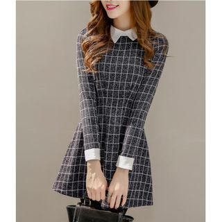 Dowisi - Collared Long-Sleeve Check Mini Dress