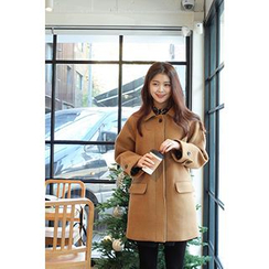 CHERRYKOKO - Collared Hidden-Button Wool Blend Coat