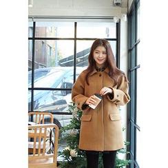 CHERRYKOKO - Collared Hidden-Button Wool Blend Coat