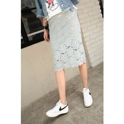 Momnuri - Maternity Lace Midi Pencil Skirt