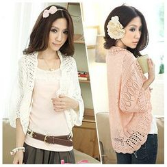 Hibisco - Batwing-Sleeve Pointelle Knit Cardigan