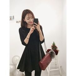 hellopeco - 3/4-Sleeve A-Line Mini Dress