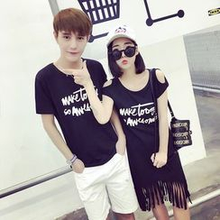 We Belong - Couple Matching Set: Print Short-Sleeve T-Shirt + Shorts / Fringe Hem Cold Shoulder T-Shirt Dress