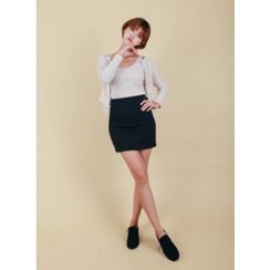 Vintage Vender - Buckle-Waist Mini Pencil Skirt