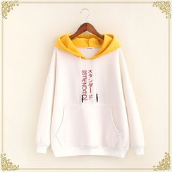 Fairyland - Letter Embroidered Color Panel Hoodie