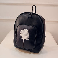 Youme - Rose Print Faux Leather Backpack