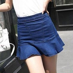 Amella - Ruffled Denim Skirt