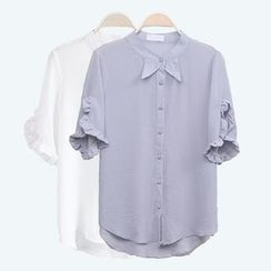 Sens Collection - Frill Trim Short Sleeve Blouse