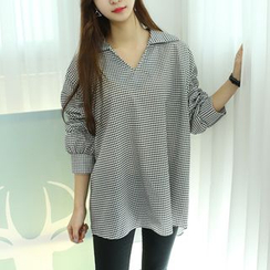 Dodostyle - Open-Placket Loose-Fit Top
