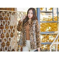 UUZONE - Faux-Fur Leopard Print  Jacket