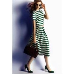 Kayro - Set: Striped Short-Sleeve Top + A-Line Skirt