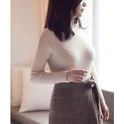 MASoeur - Turtle-Neck Slim-Fit Rib-Knit Top