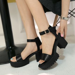 Shoes Galore - Chunky Heel Platform Sandals
