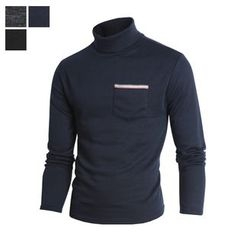 DANGOON - Turtle-Neck Pocket-Front Top