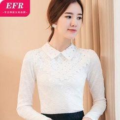 Eferu - 缀饰蕾丝长袖衬衫