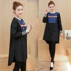 VIZZI - Print Long Sleeve Dress