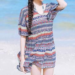 小桃泳衣 - 套裝: 圖案高腰比基尼泳衣 + 罩衫